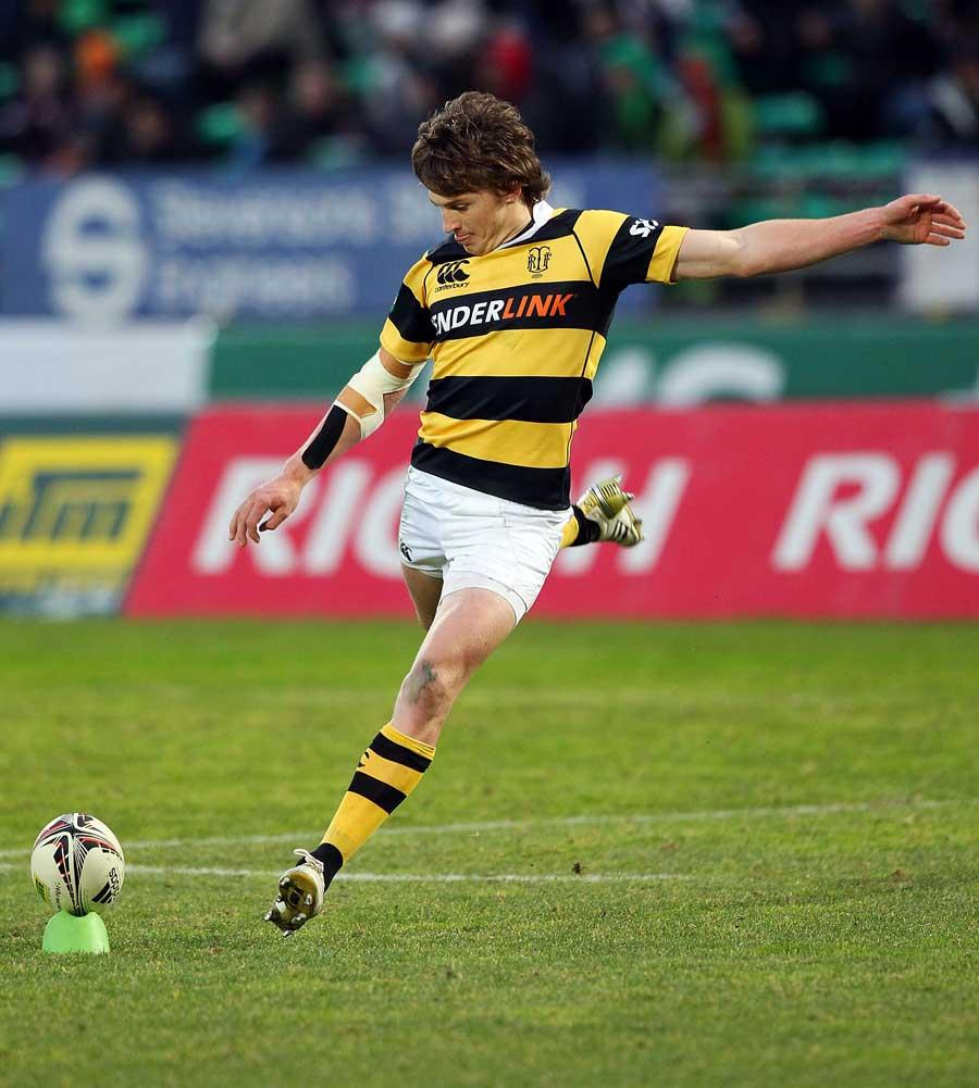 Taranaki fly-half Beauden Barrett kicks at goal