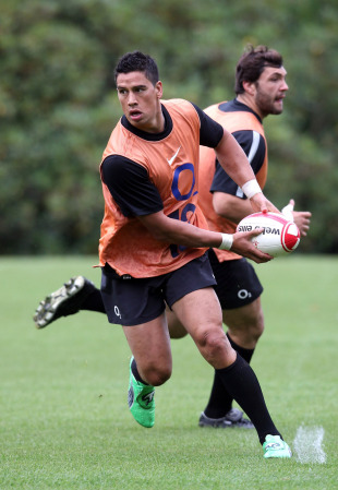 England's Shontayne Hape looks to shift the ball during training, Pennyhill Park, Bagshot, England, August 11, 2011
