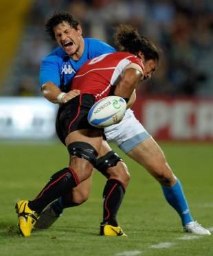 Italy's Alessandro Zanni is tackled by Japan's Ryukoliniasi Holani, Italy v Japan, Stadio Dino Manuzzi, Cesena, Italy, August 13, 2011