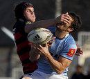 Dan Faleafa tries to take a high ball under pressure