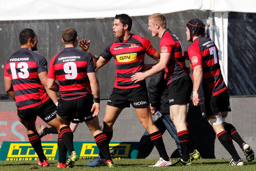 Canterbury fullback Sean Maitland celebrates his try