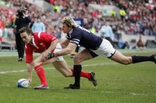 Rhys Williams scores against Scotland