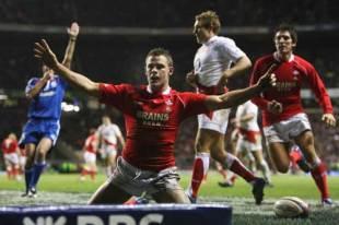 Wales full-back Lee Byrne celebrates scoring against England, England v Wales, Six Nations, Twickenham, February 2 2008.