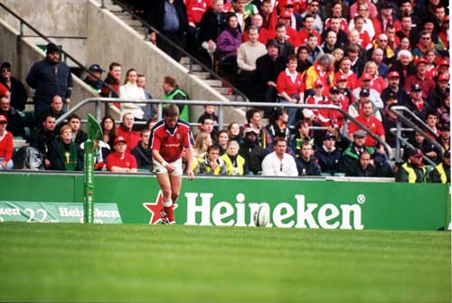 Ronan O'Gara lines up a kick for goal