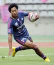 Stade Francais' Francis Fainifo runs in a try