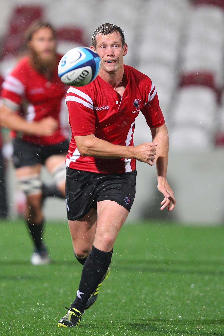 Canada's Ander Monro releases the ball against the Queensland XV