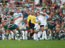 Leicester Tigers fly-half George Ford fails with a late drop goal attempt