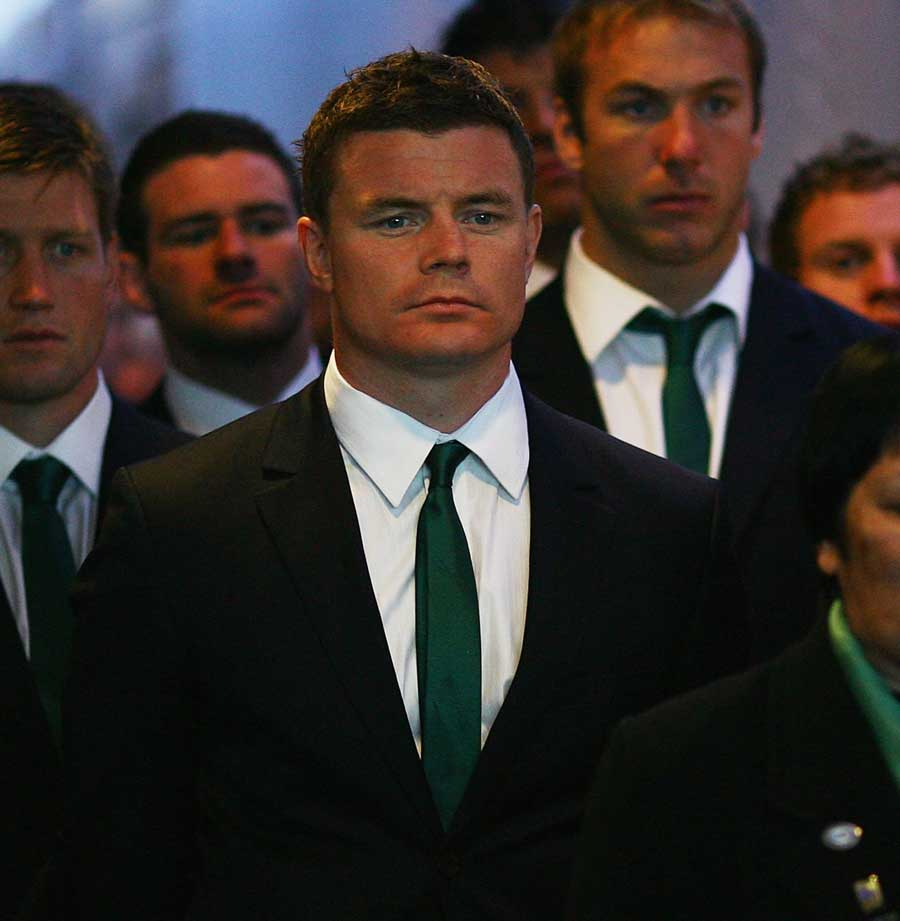Ireland's Brian O'Driscoll looks on as his side are welcomed to New Zealand