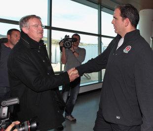 Bernard Lapasset greets Martin Johnson at Dunedin airport