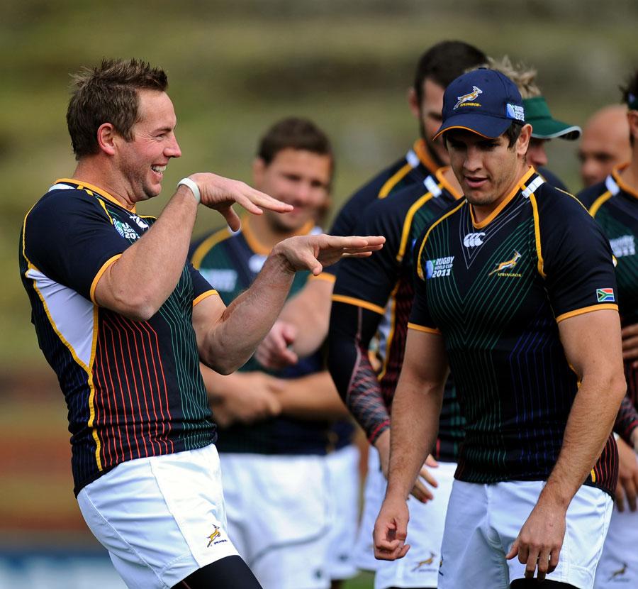Fly-half Butch James enjoys a joke with his Springbok team-mates