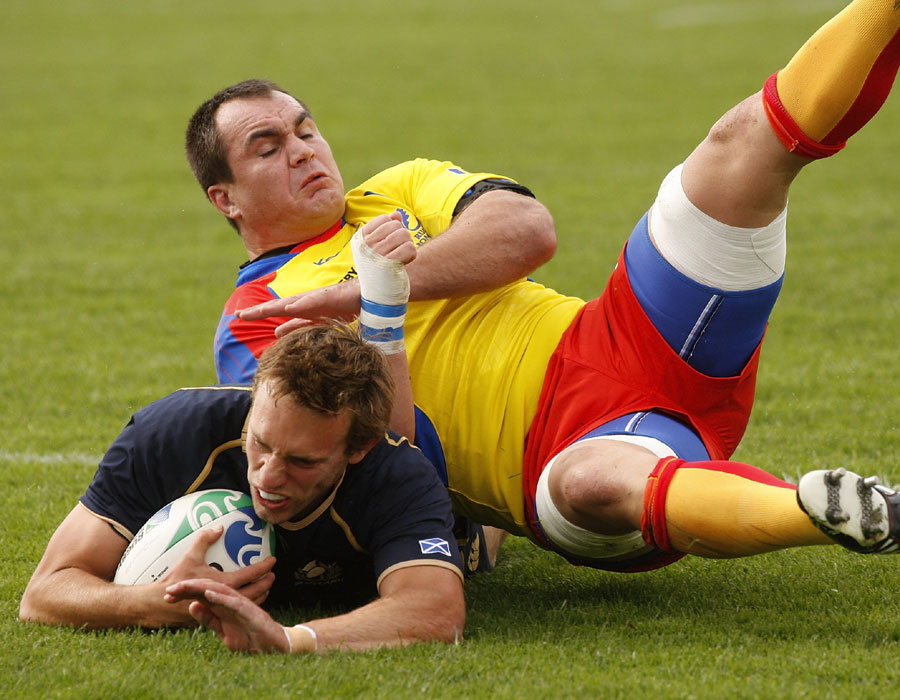 Mike Blair dives over for Scotland's opening try