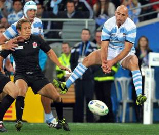 Argentina's Felipe Contepomi drops a high ball, England v Argentina, Rugby World Cup, Otago Stadium, Dunedin, New Zealand, September 10, 2011