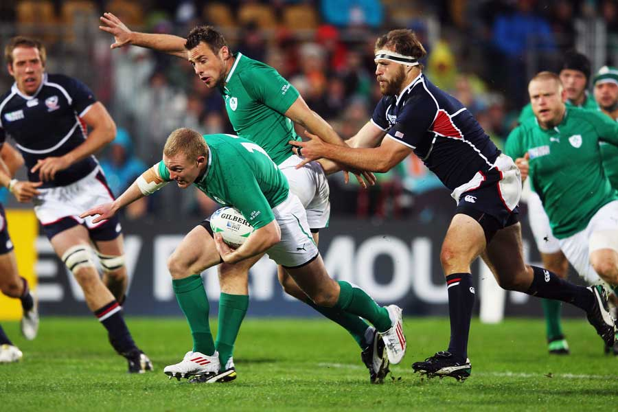 Ireland's Keith Earls tries to break through the USA Eagles defence