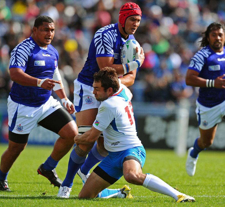Samoa lock Daniel Leo charges forward