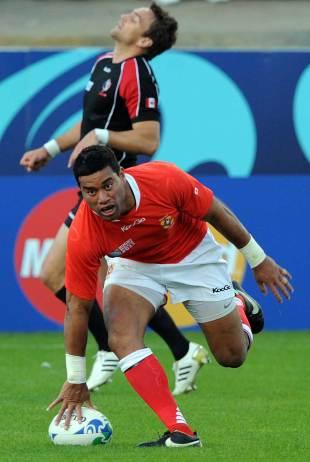 Tonga's Siale Piutau dots the ball down, Canada v Tonga, Rugby World Cup, Whangarei, New Zealand, September 14, 2011