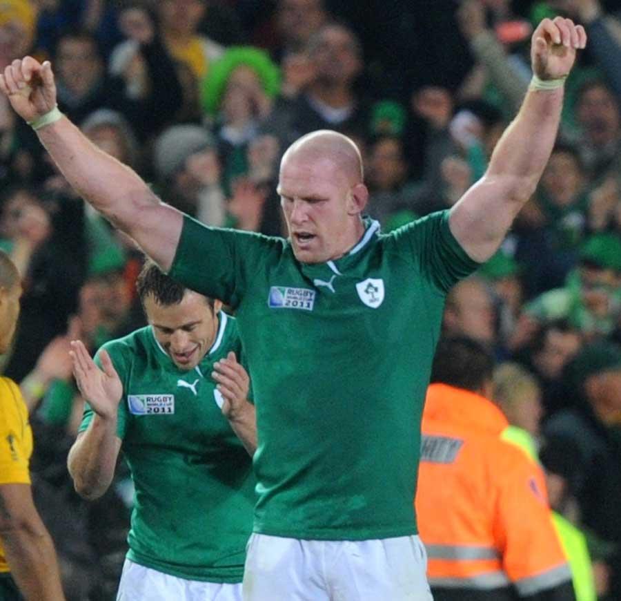 Ireland's Paul O'Connell celebrates his side's historic win over Australia