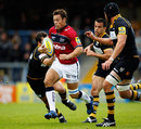 Sale fullback Rob Miller breaks through the Wasps defence