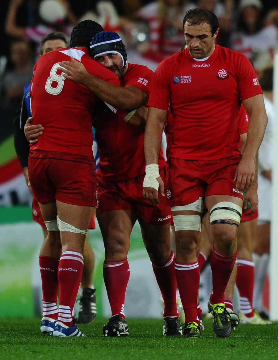Georgia's Dmitri Basilaia takes the plaudits after his try
