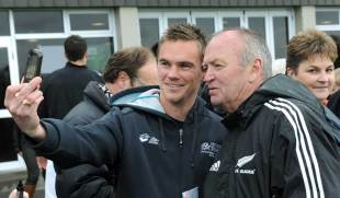 All Blacks coach Graham Henry meets some fans