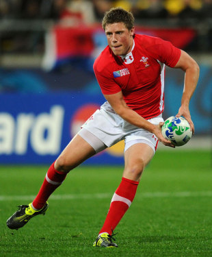 Wales' Rhys Priestland looks to shift the ball, South Africa v Wales, Rugby World Cup, Wellington Stadium, Wellington, New Zealand, September 11, 2011