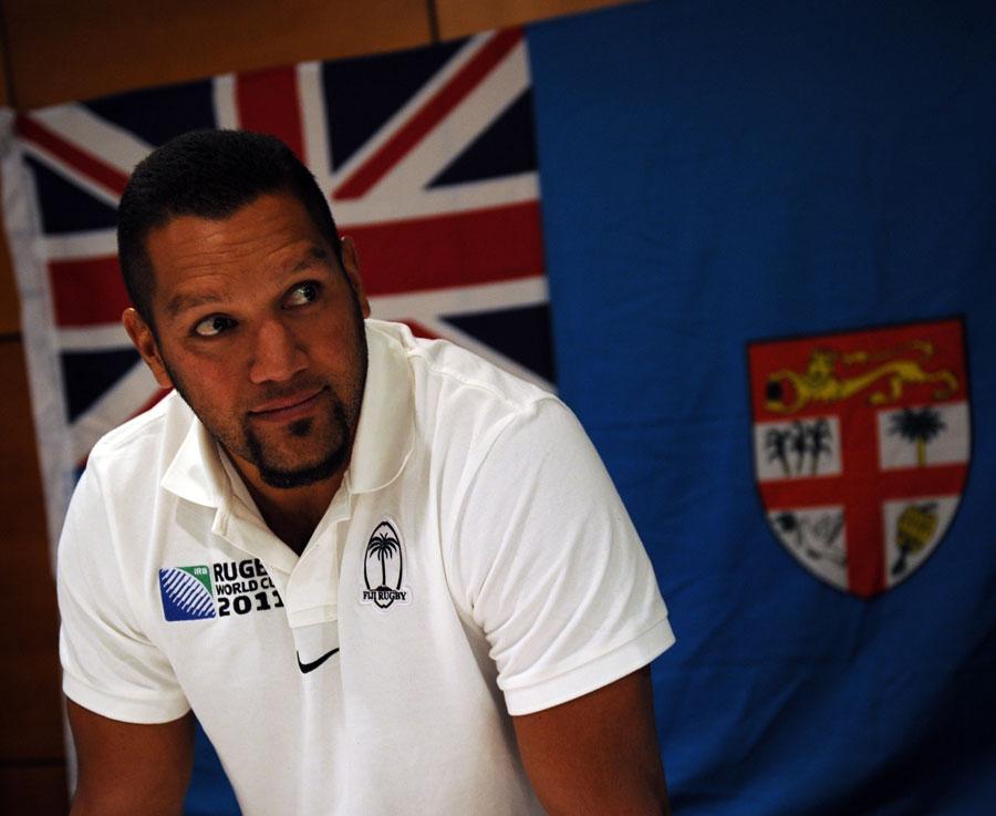 Fiji fly-half Nicky Little faces the media