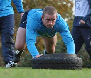 Phil Vickery, the England prop takes part in strength training during the England rugby training at the Pennyhill Park Hotel in Bagshot, England on November 11, 2008.