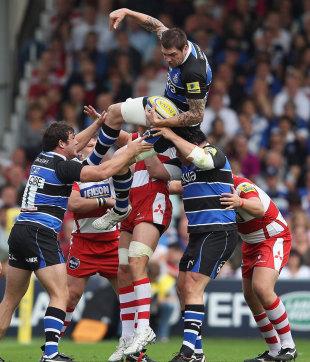 Bath's Ryan Caldwell claims the lineout ball, Gloucester v Bath, Kingsholm, Gloucester, England, September 24, 2011