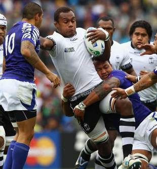 Fiji's Leona Nakarawa is halted in his tracks