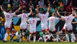 Russia celebrate their try