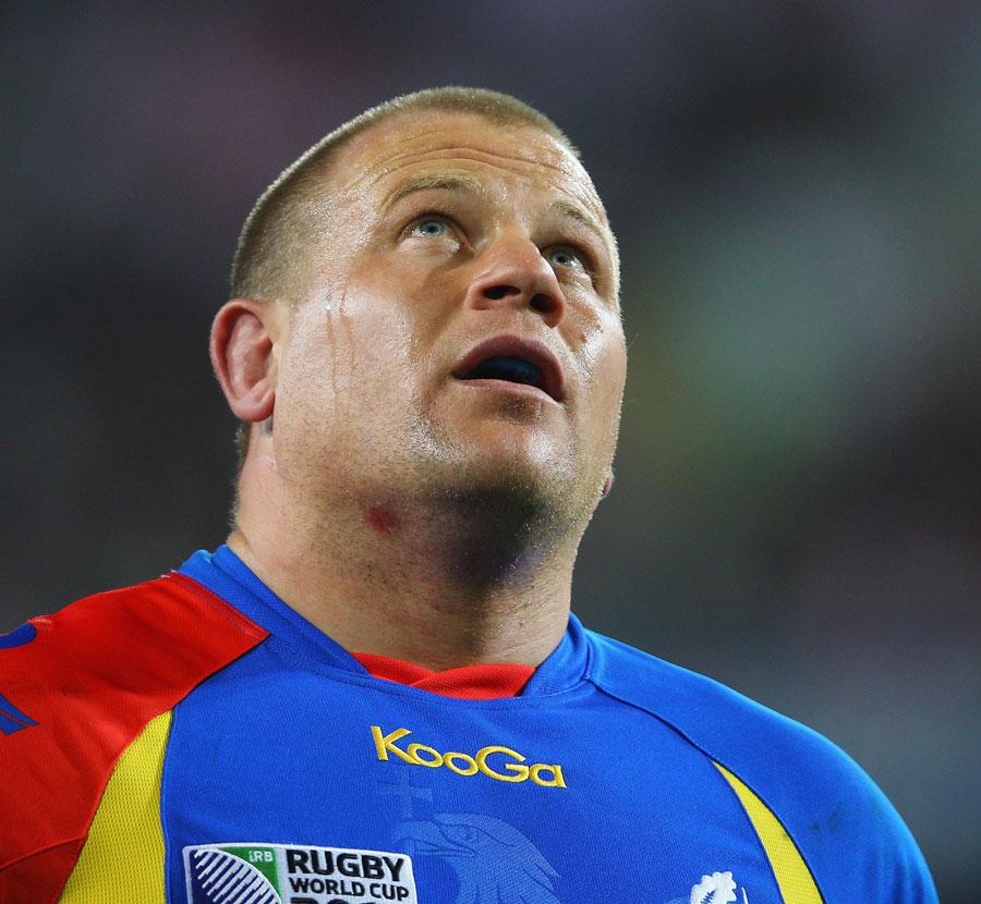 Romania captain Marius Tincu looks to the heavens
