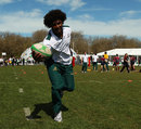 Wallabies No.8 Radike Samo shows off his handling skills