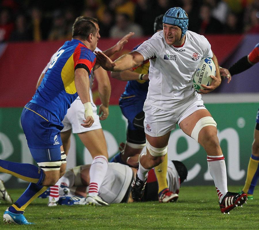 Georgia's Levan Datunashvili stretches his legs