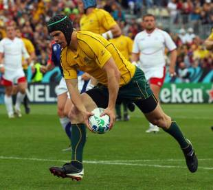 Australia's Berrick Barnes crosses for the first try of the match, Australia v Russia, Rugby World Cup, Trafalgar Park, Nelson, October 1, 2011
