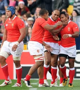 Tonga celebrate their try