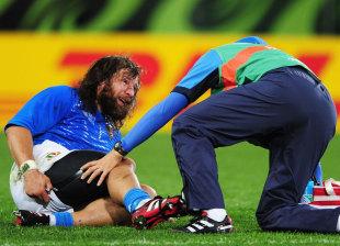 Italy's Martin Castrogiovanni receives treatment