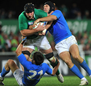 Ireland's Stephen Ferris thunders into the Italian defence, Ireland v Italy, Rugby World Cup, Otago Stadium, Dunedin, New Zealand, October 2, 2011