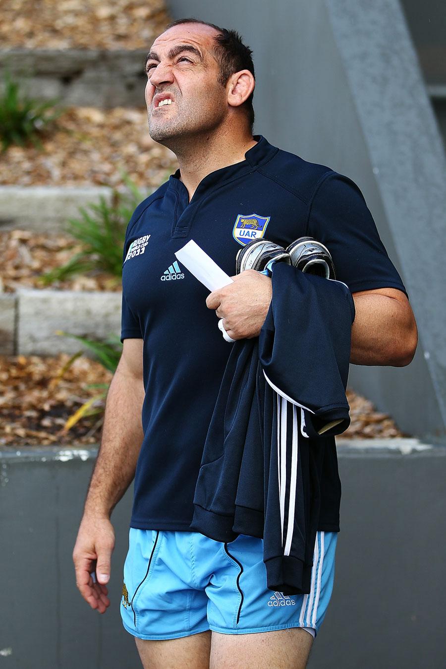 Argentina's Mario Ledesma checks on the Auckland weather