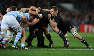 Richie McCaw leads New Zealand's shove