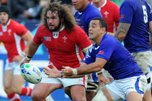 Wales's Adam Jones tracks Samoa's scrum-half Kahn Fotuali'i, Wales v Samoa, Rugby World Cup, Waikato Stadium, Hamilton, New Zealand, September 18, 2011