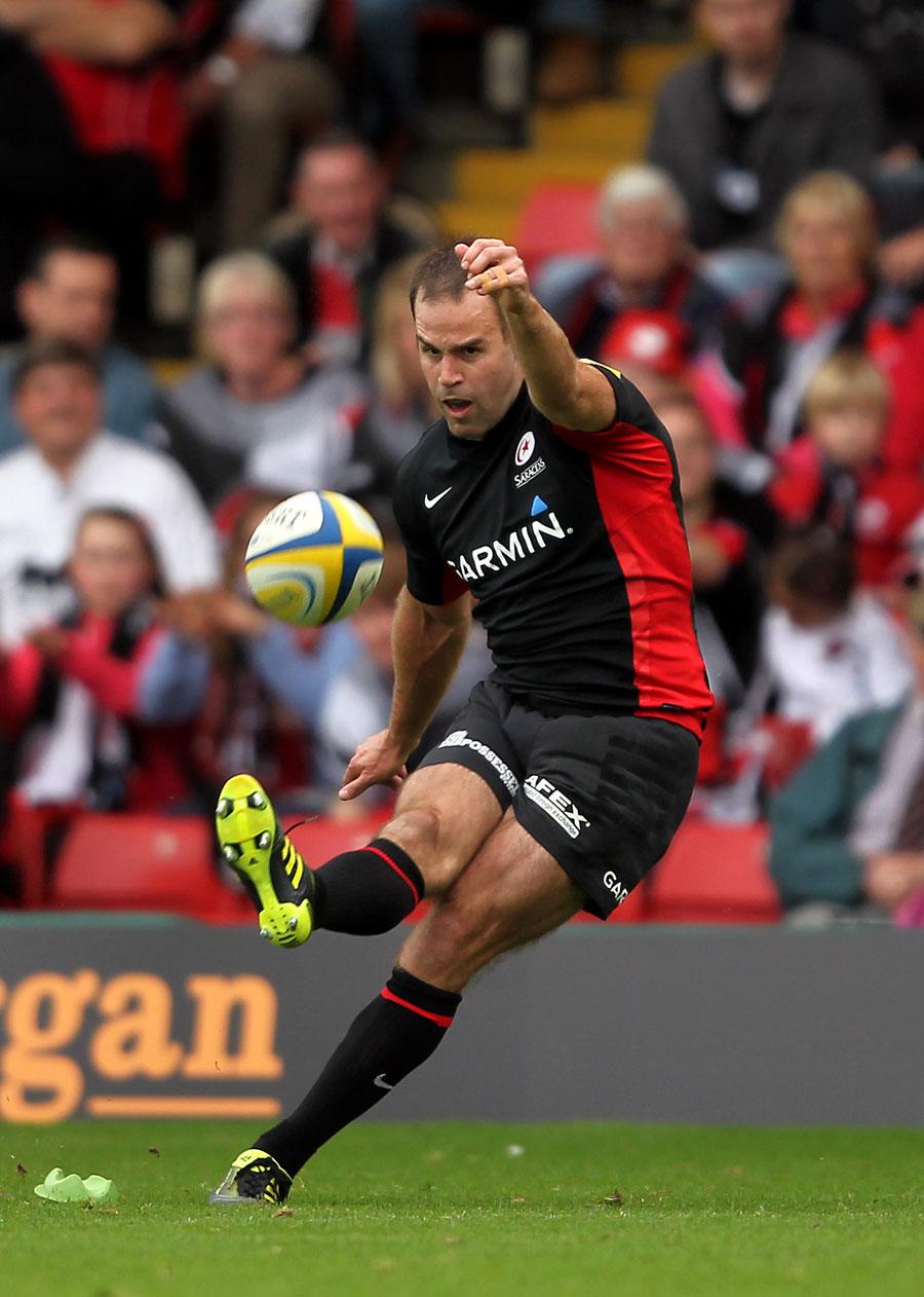 Saracens' Charlie Hodgson converts a try