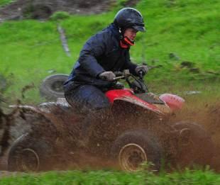 Wales' Paul James tries his hand at quad biking
