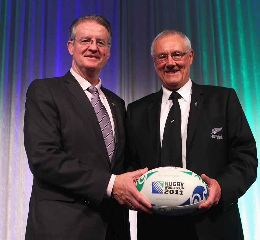 IRB chairman Bernard Lapasset with NZRU chairman Mike Eagle