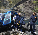 Julien Bonnaire and Pascal Pape arrive in style for some heli-fishing