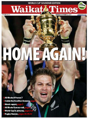 The front page of the <I>Waikato Times</I>, October 24, 2011