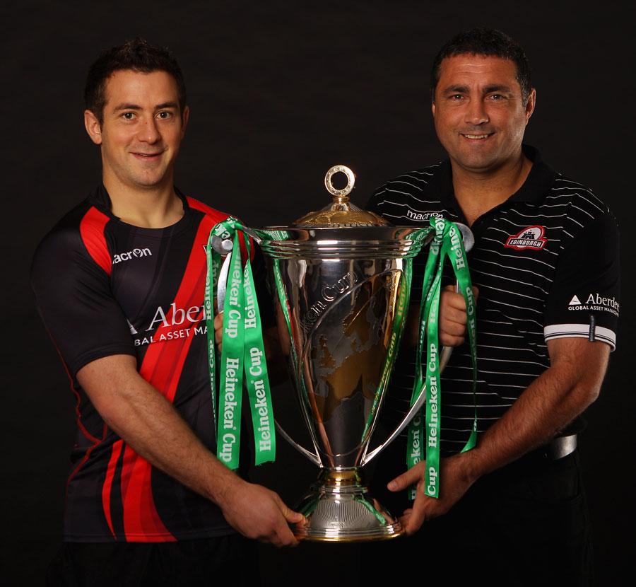 Edinburgh captain Greig Laidlaw and head coach Michael Bradley with the Heineken Cup