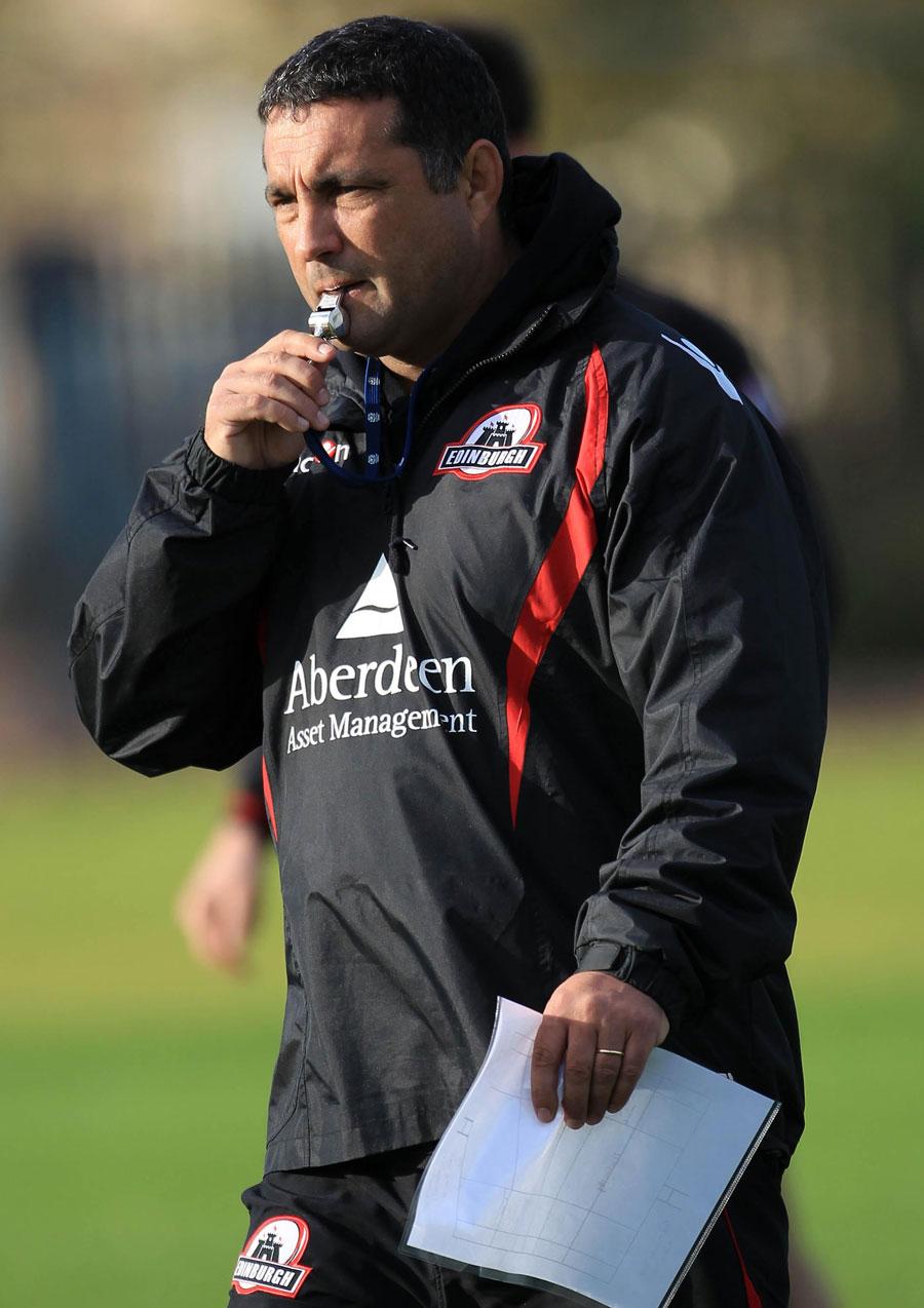 Edinburgh coach Michael Bradley casts an eye over training