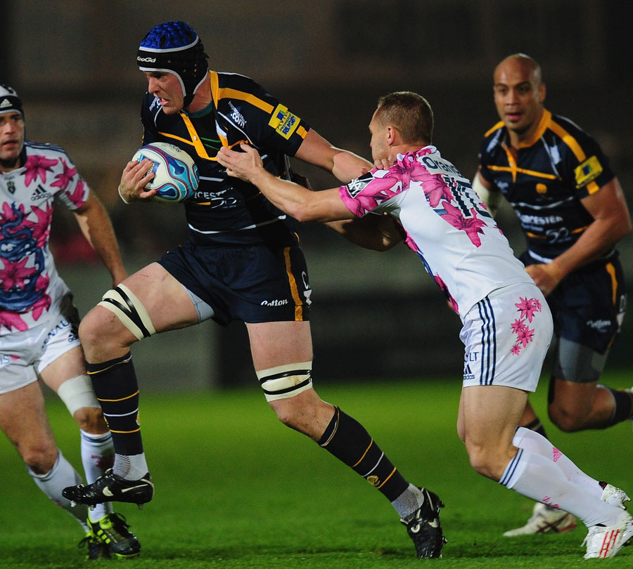 Worcester's Chris Jones takes on the Stade Francais defence