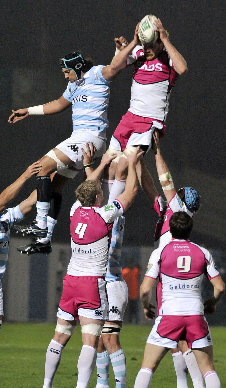 Cardiff Blues lock Paul Tito claims the ball at a lineout