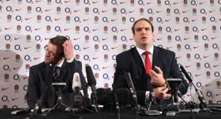 Rob Andrew and Martin Johnson prepare for the press conference where Johnson announced his resignation