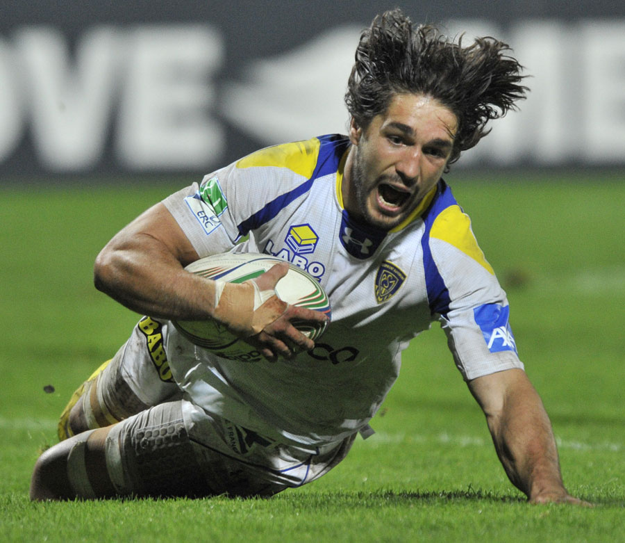 Clermont's Julien Bardy slides in to score
